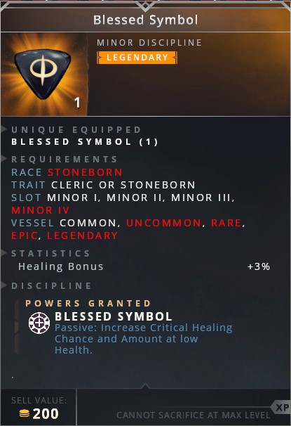 Blessed Symbol	• blessed symbol (passive: increase critical healing chance and amount at low health)