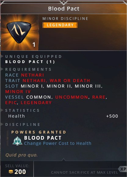 Blood Pact • blood pact (passive: change power cost to health)