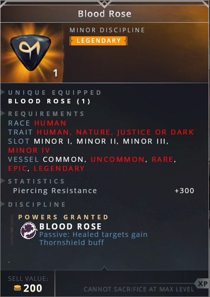 Blood Rose • blood rose (passive: healed targets gain thornshield buff)