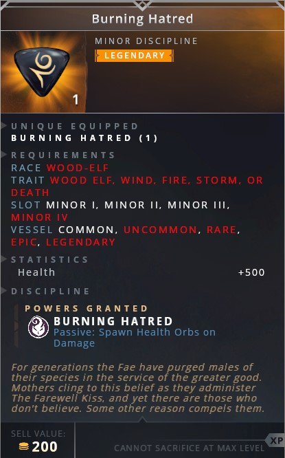 Burning Hatred • burning hatred (passive: spawn health orbs on damage)