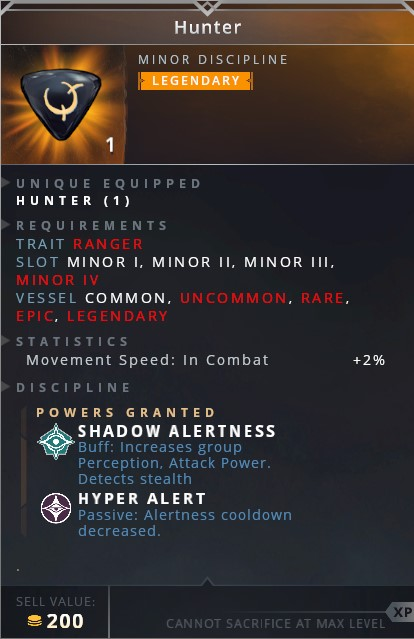 Hunter • shadow alertness (buff: increase group perception, attack power. detects stealth)• hyper alert (passive: alertness cooldown decreased)
