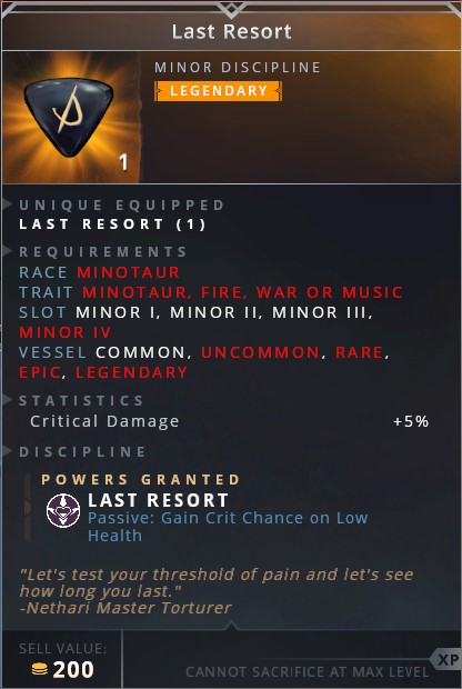 Last Resort • last resort (passive: gain crit chance on low health)