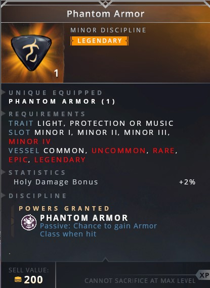 Phantom Armor • phantom armor (passive: chance to gain armor class when hit)
