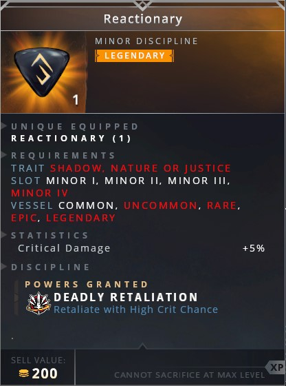 Reactionary	• deadly retaliation (retaliate with high crit chance)