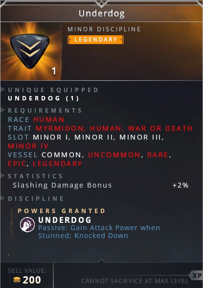 Underdog • underdog (passive: gain attack power when stunned; knocked down)