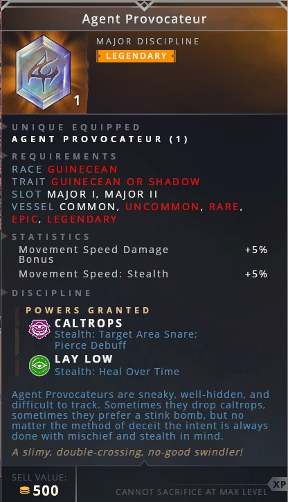 Agent Provocateur • caltrops (stealth: target area snare: pierce debuff)• lay low (stealth: heal over time)