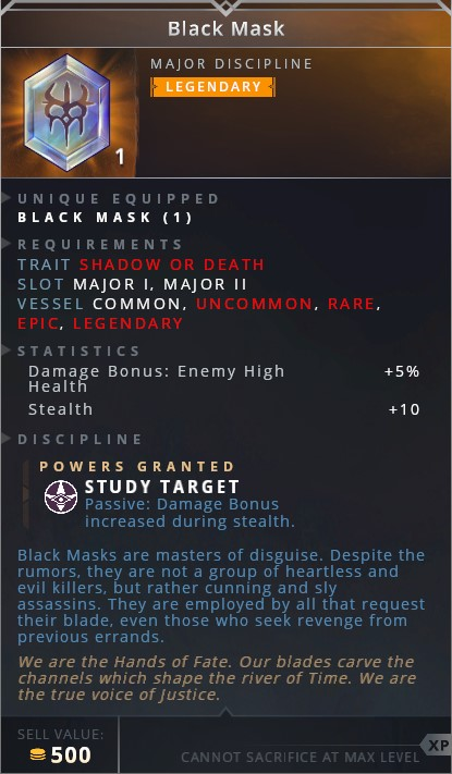 Black Mask • study target (passive: damage bonus increased during stealth)