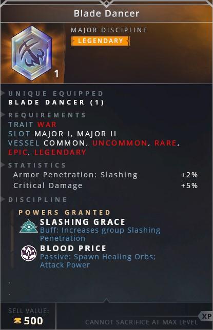 Blade Dancer • slashing grace (buff: increase group slashing penetration)• blood price (passive: spawn healing orbs; attack power)