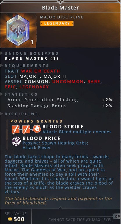 Blade Master • blood strike (attack: bleed multiple enemies)• blood price (passive: spawn healing orbs; attack power)