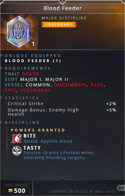 Blood Feeder • bite (attack: applies bleed)• tasty (passive: grants lifesteal when attacking bleeding targets)