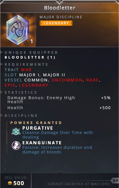 Bloodletter • purgative (cleanse damage over time with healing)• exanguinate (passive: increases duration and damage of bleeds)