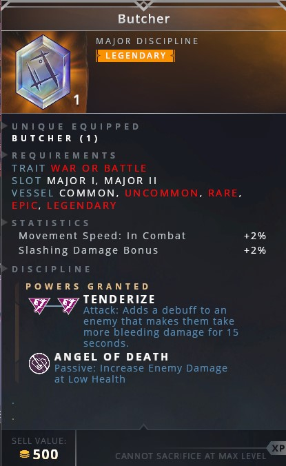 Butcher • tenderize (attack: adds a debuff to an enemy that makes them take more bleeding damage for 15 seconds)• angel of death (passive: increase enemy damage at low health)