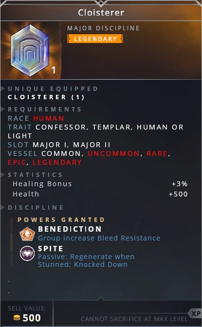 Cloisterer • benediction (group increase bleed resistance)• spite (passive: regenerate when stunned; knocked down)