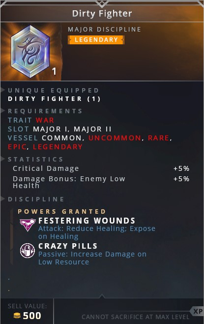 Dirty Fighter • festering wound (attack: reduce healing; expose on healing)• crazy pills (passive: increase damage on low resource)