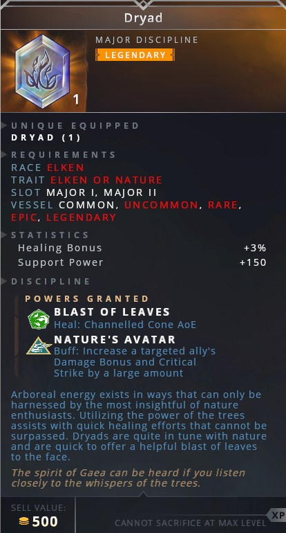 Dryad • blast of leaves (heal: channeled cone aoe)• nature's avatar (buff: increase a target ally's damage bonus and critical strike by a large amount)