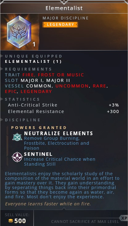 Elementalist • neutralize elements (remove group burning, frostbite, electrocution and poison)• sentinel (increase critical chance when standing still)
