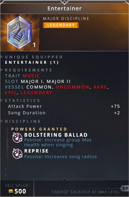 Entertainer • bolstering ballad (passive: increase group max health when singing)• reprise (passive: increase song radius)