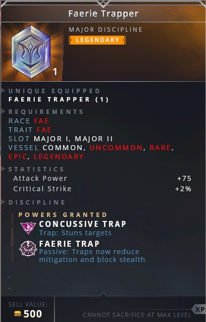 Faerie Trapper • concussive trap (trap: stuns targets)• faerie trap (passive: traps now reduce mitigation and block stealth)