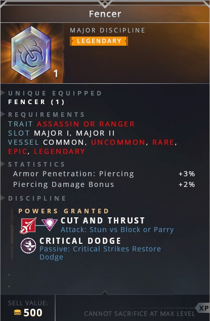 Fencer • cut and thrust (attack: stun vs block or parry)• critical dodge (passive: critical strikes restore dodge)