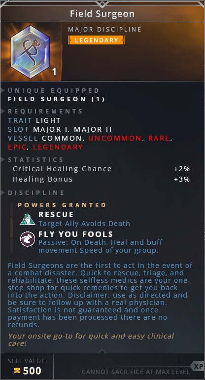 Field Surgeon • rescue (target ally avoids death)• fly you fools (passive: on death, heal and buff movement speed of your group)