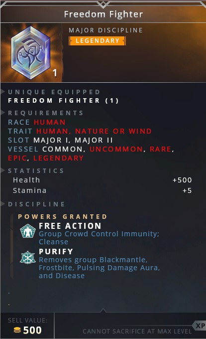 Freedom Fighter • free action (group crowd control immunity; cleanse)• purify (removes group blackmantle, frostbite, pulsing damge aura and disease)