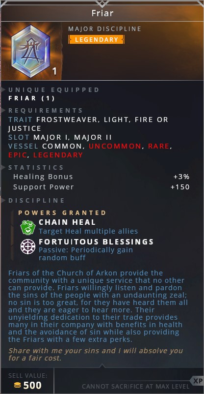 Friar • chain heal (target heal multiple allies)• fortuitous blessings (passive: periodically gain random buff)