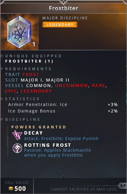 Frostbiter • decay (attack:frostbite; expose punish)• rotting frost (passive: applies blackmantle when you apply frostbite)