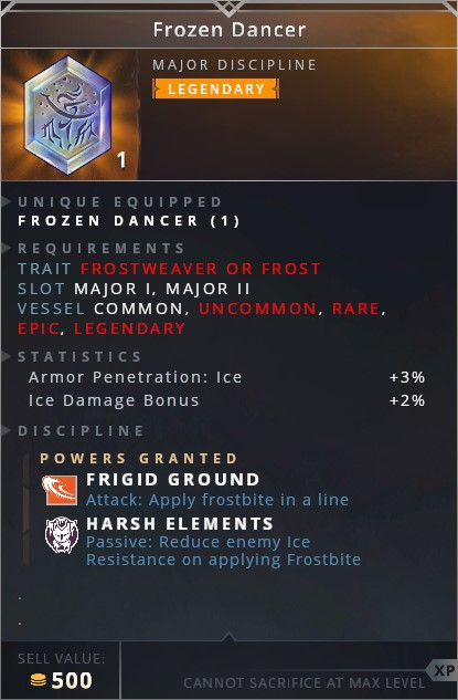 Frozen Dancer • frigid ground (attack: apply frostbite in a line)• harsh elements (passive: reduce enemy ice resistance on applying frostbite)