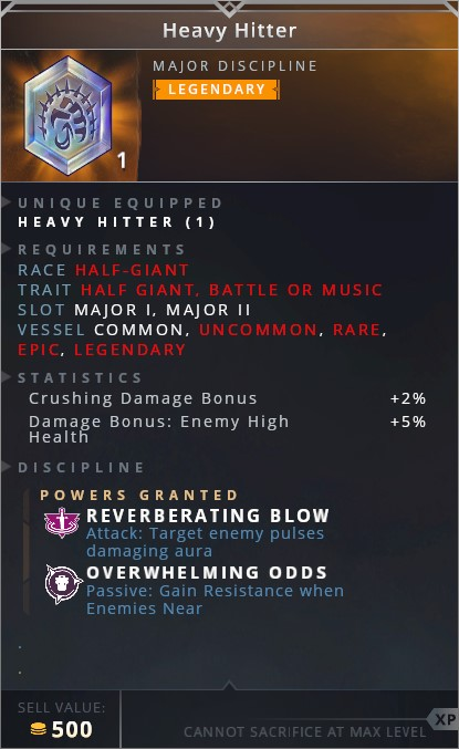 Heavy Hitter • reverberating blow (attack: target enemey pulses damaging aura)• overwhelming odds (passive: gain resistance when enemies near)