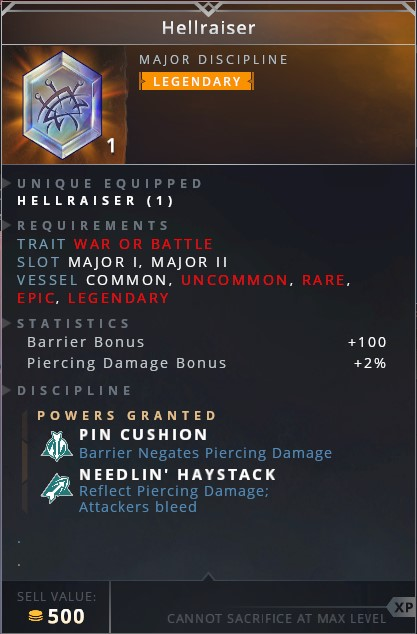Hellraiser • pin cushion (baarrier negates piercing damage)• needlin' haystack (reflect piercing damage; attackers bleed)
