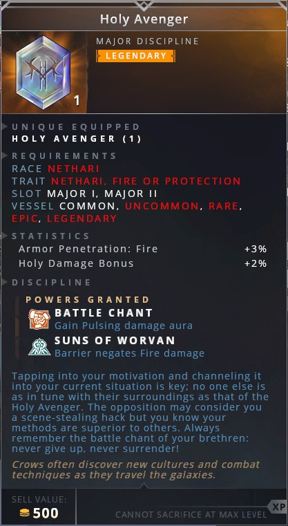 Holy Avenger • battle chant (gain pulsing damage aura)• suns of worvan (barrier negates fire damage)