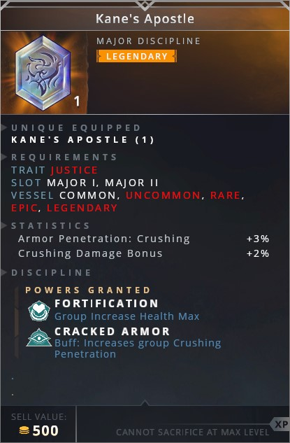 Kanes Apostle • fortification (group increase health max)• cracked armor (buff: increases group crushing penetration)