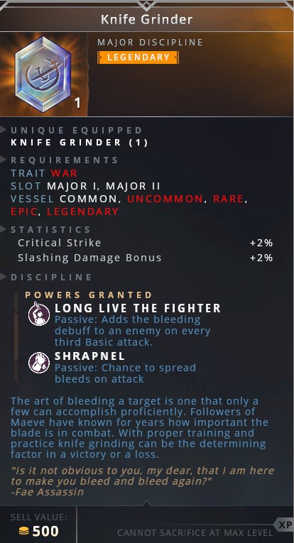Knife Grinder • long live the fighter (passive: adds the bleeding debuff to an enemy on every third basic attack)• shrapnel (passive: chance to spread bleeds on attack)