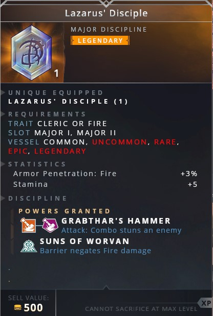 Lazarus Disciple • grabthar's hammer (attack: combo stuns an enemy)• suns of worvan (barrier negates fire damage)
