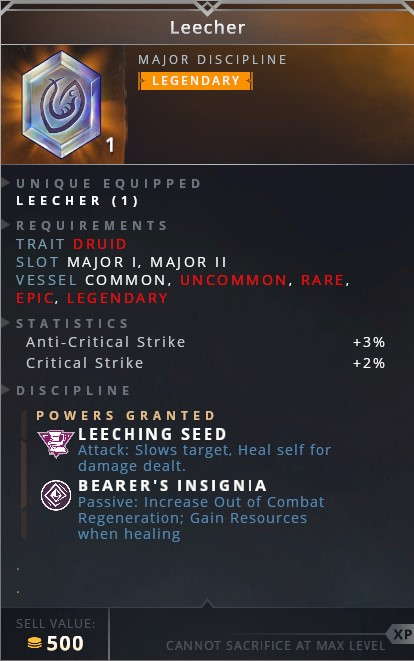 Leecher • leeching seed (attack: slows target. heal self for damage dealt)• bearer's insignia (passive increase out of combat regeneration; gain resources when healing)