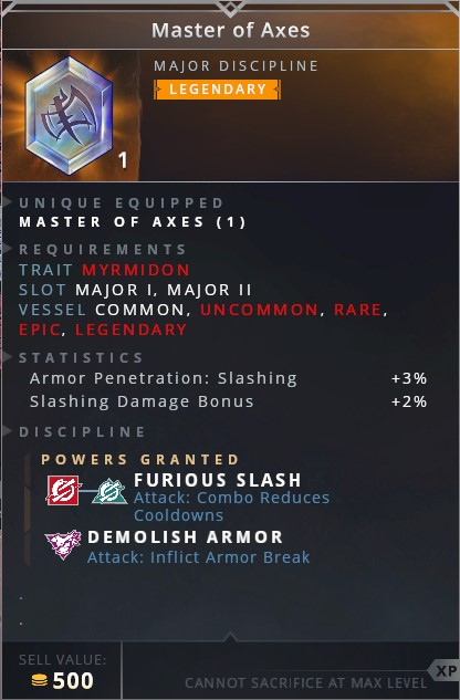 Master Of Axes • furious slash (attack: combo reduces cooldowns)• demolish armor (attack: inflict armor break)