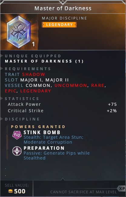 Master Of Darkness • stink bomb (stealth: target area stun; moderate corruption)• preparation (passive: generate pips while stealthed)