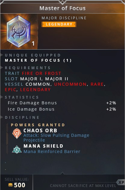 Master Of Focus • chaos orb (attack: slow pulsing damage projectile)• mana shield (mana reinforced barrier)