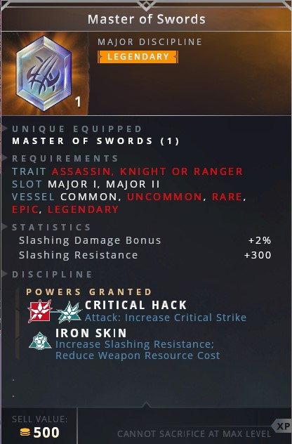 Master Of Swords • critical hack (attack: increase critical strike)• iron skin (increase slashing resistance; reduce weapon resource cost)