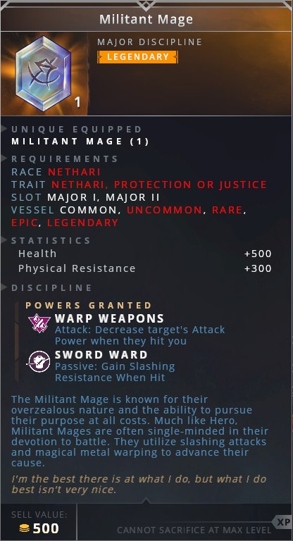 Militant Mage • warp weapons (attack: decrease target's attack power when they hit you)• sword ward (passive: gain slashing resistance when hit)