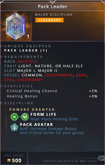 Pack Leader • form life (heal: place healing orbs)• pack avatar (increase damage bonus and critical strike for your group)