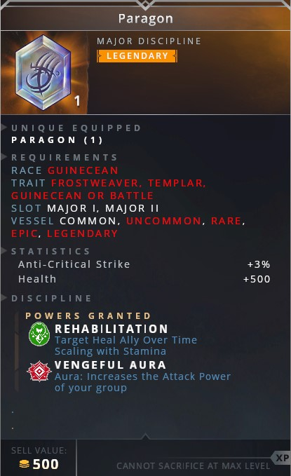 Paragon • rehabilitation (target ally heal over time scaling with stamina)• vengeful aura (aura: increase the attack power of your group)