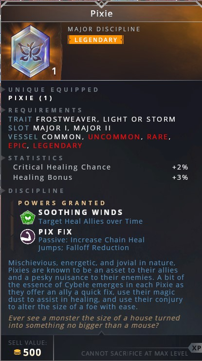 Pixie • soothing winds (target heal allies over time)• pix fix (passive: increase chain heal jumps; falloff reduction)