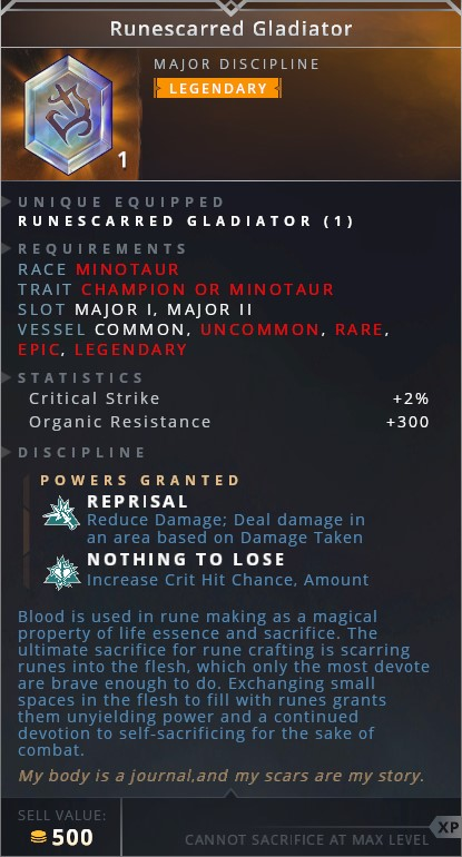 Runescarred Gladiator • reprisal (reduce damage; deal damage in an area based on damage taken)• nothing to lose (increase cit hit chnace amount)