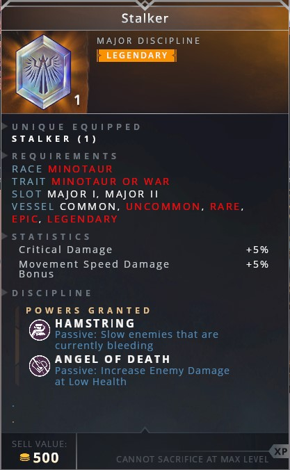 Stalker • hamstring (passive: slow enemies that are currently bleeding)• angel of death (passive: increase enemy damage at low health)