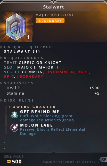 Stalwart • get behind me (buff: while blocking grant damage reduction to group)• molon labe (passive: blocks reflect elemental damage)