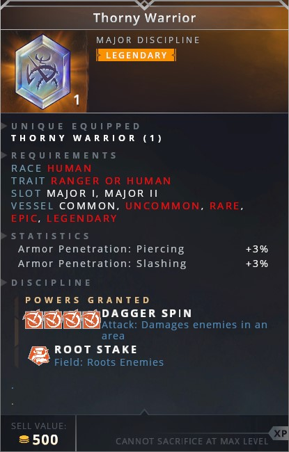 Thorny Warrior • dagger spin (attack: damages enemies in an area)• root stake (field: roots enemies)