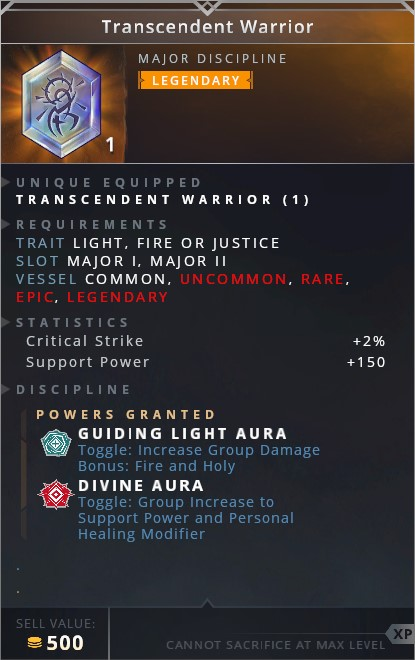 Transcendent Warrior • guiding light aura (toggle: increase group damage bonus: fire and holy)• divine aura (toggle: group increase to support power and personal healing modifier)