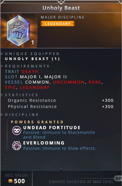 Unholy Beast • undead fortitude (passive: immune to blackmantle and bleed)• everblooming (passive: immune to slow effects)