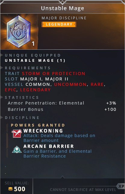 Unstable Mage • wreckoning (attack: deals damage based on barrier amount)• arcane barrier (gain a barrier and elemental barrier resistance)